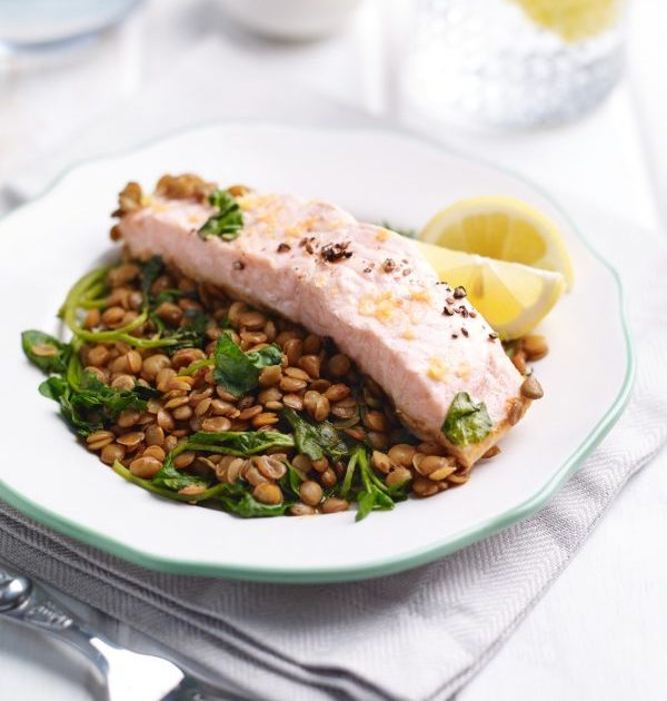 Harissa Salmon with Watercress Lentils