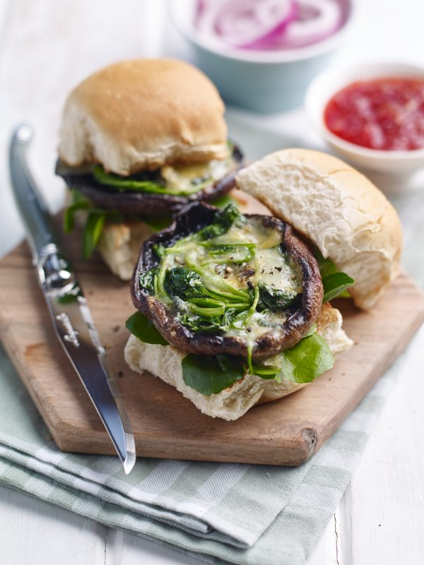 Watercress and Mushroom Sliders