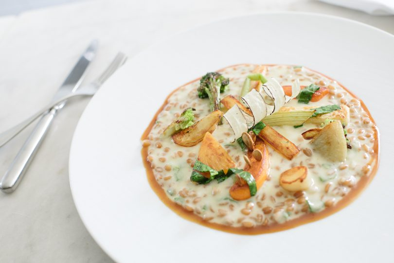 Spelt risotto with winter vegetables