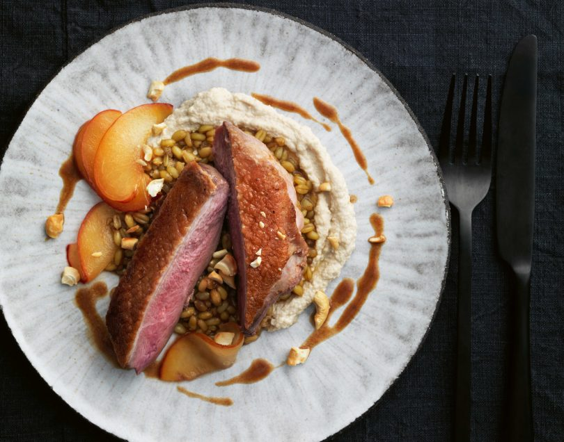 Duck with tamarind sauce, cashew butter, freekeh and pickled plums