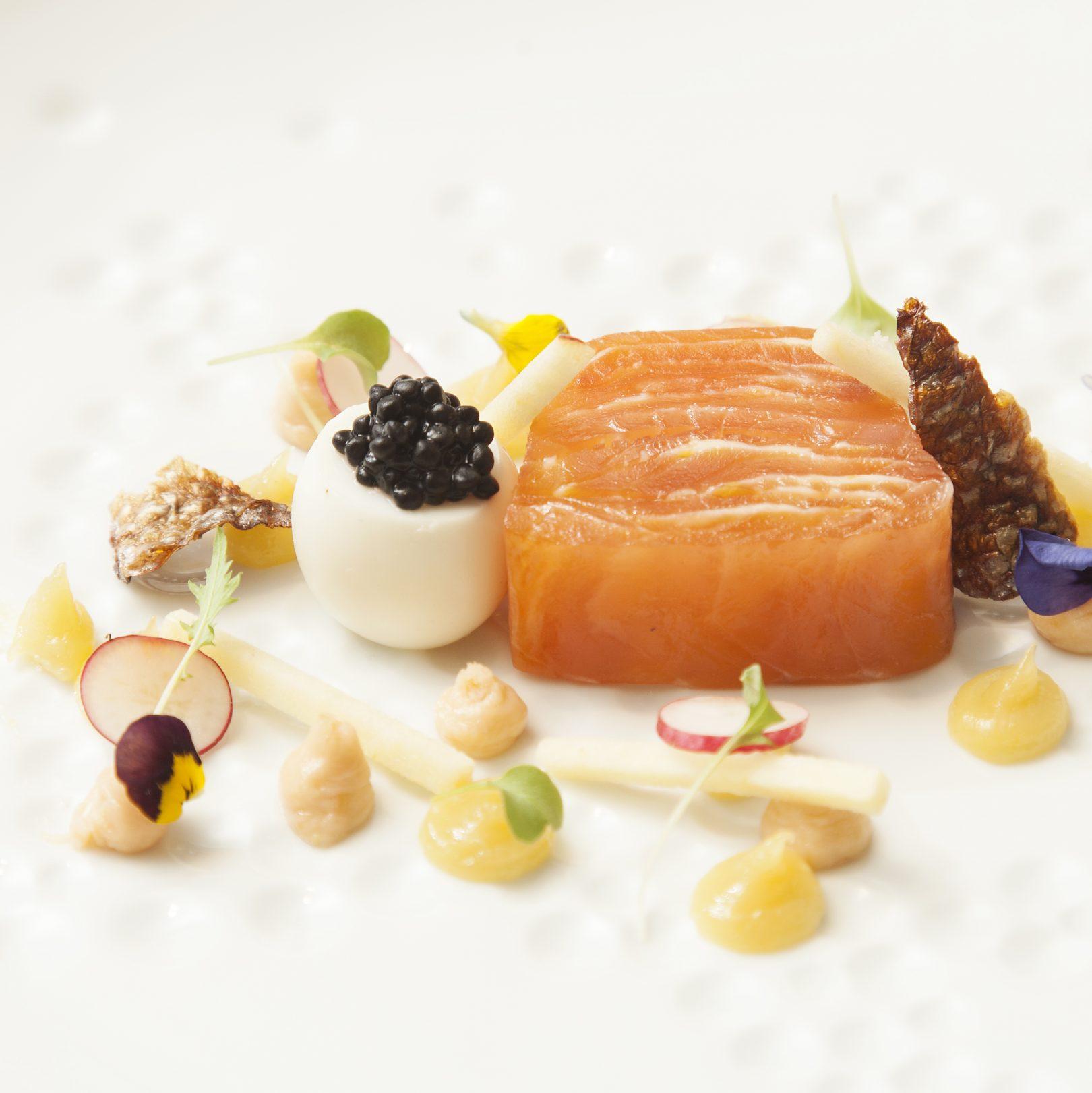 Number One smoked salmon, quails' egg, caviar