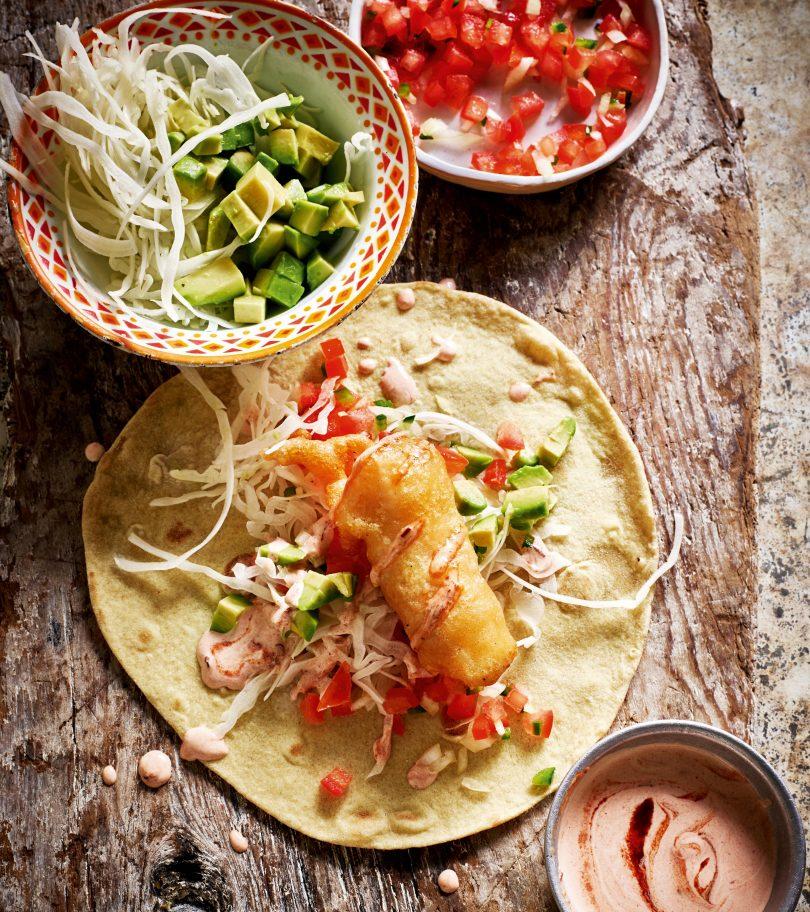 Ensenada fish tacos with chilli and coriander