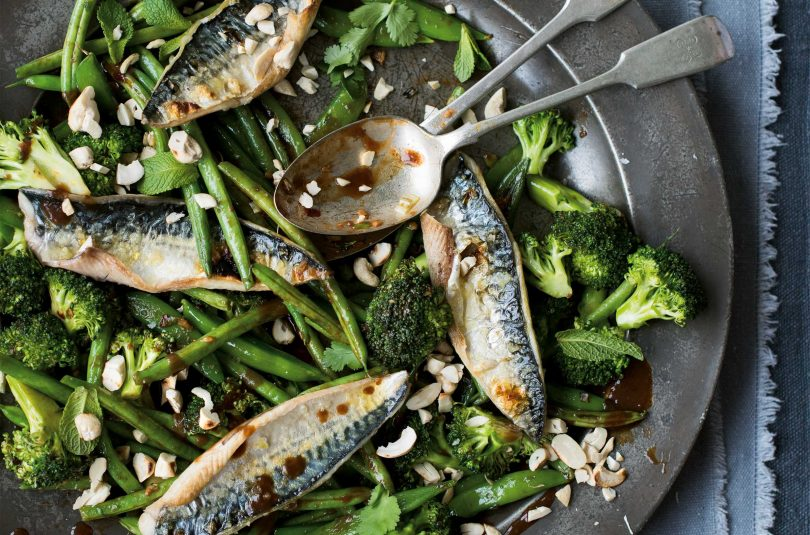 Grilled mackerel with tamarind  ginger greens