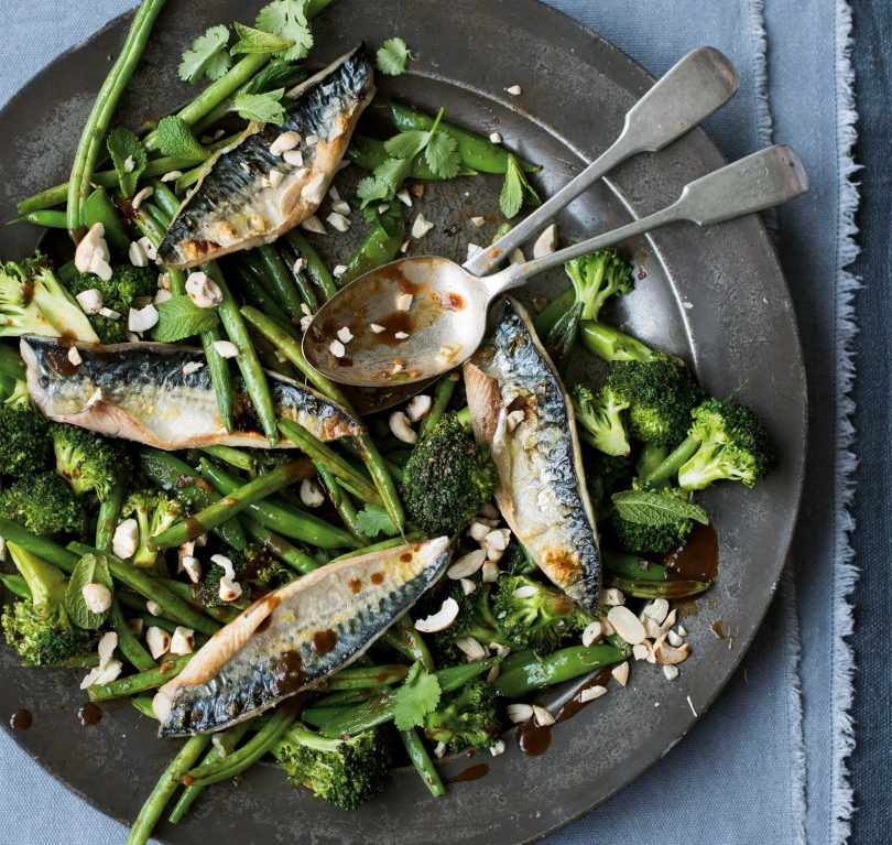 Grilled mackerel with tamarind  ginger greens