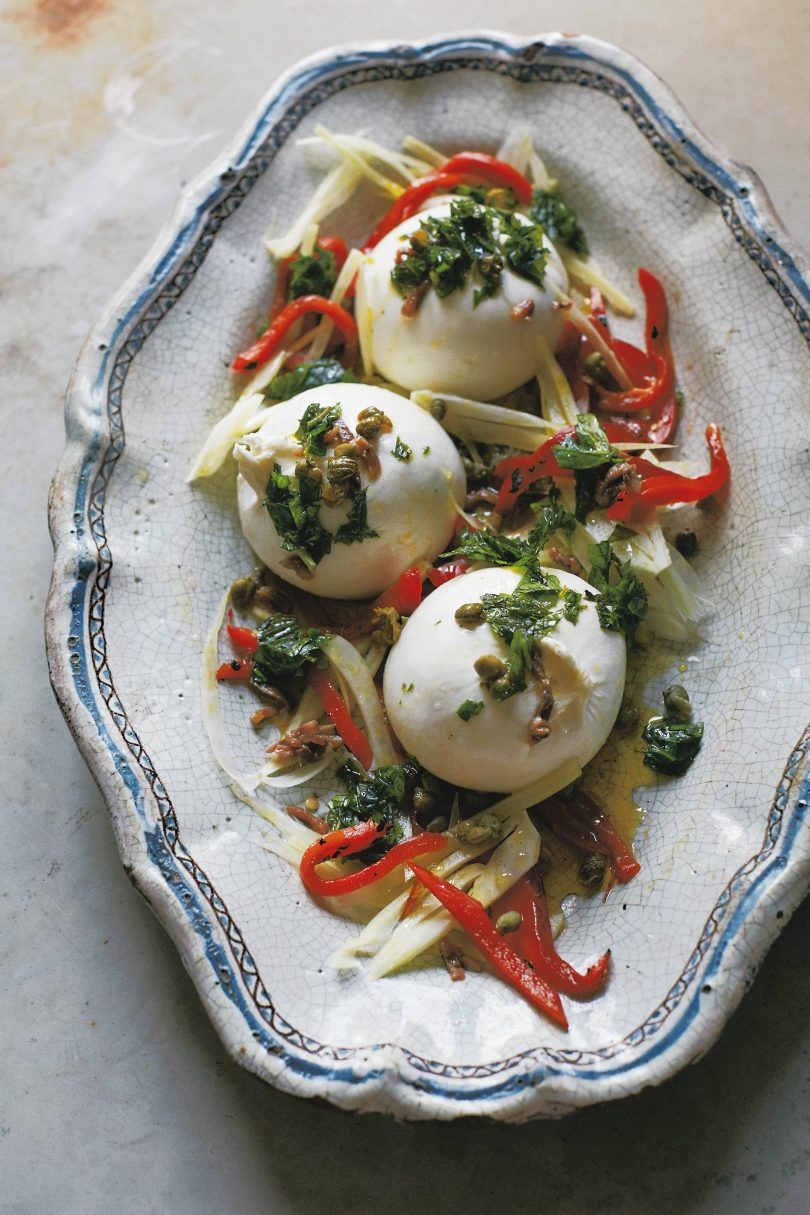 Burrata with fennel, roast peppers, anchovies & capers