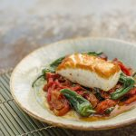Tom Kitchin: Halibut, red pepper & chorizo