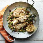Simon Rimmer and Tim Lovejoy's Sunday Brunch Cookbook: Rosemary skewered monkfish on pearl barley risotto